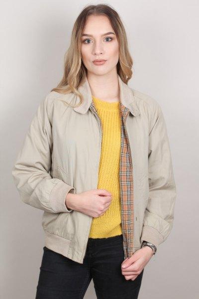 light pink harrington jacket with lemon yellow rib knit sweater
