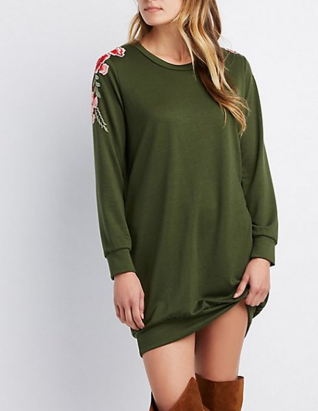 green embroidered sweater with over the knee boots