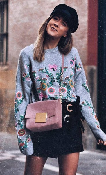 black floral embroidered sweater with mini skirt flat cap