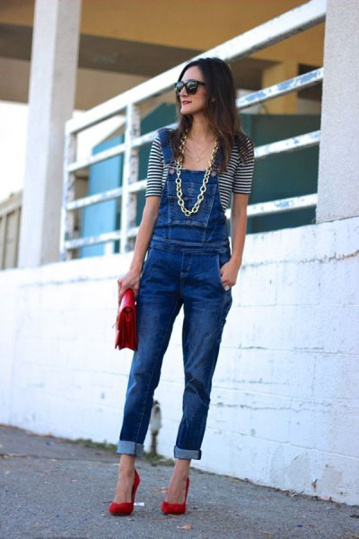 blue denim overalls with striped tee with half sleeve