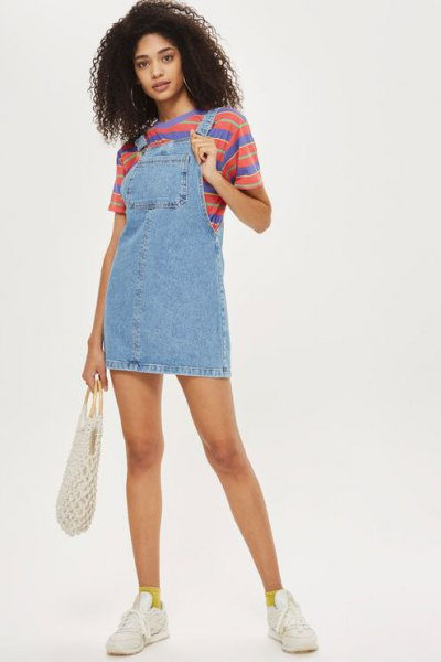 denim pinafore dress with blue and red striped tee
