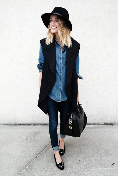 black long sleeve blazer with chambray shirt and felt hat