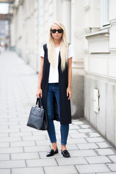 white tee jeans black loafers