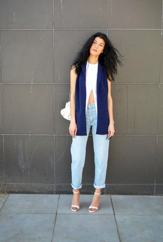 navy blue blazer with white crop top and boyfriends