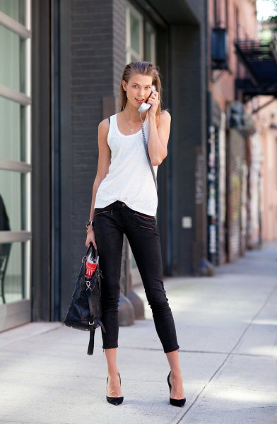 black capris with white top and heels