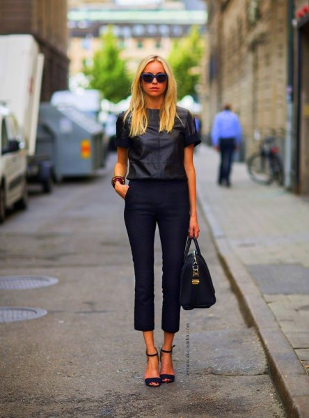 black capris with short-sleeved shirt in leather