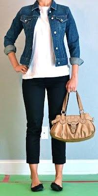 blue denim jacket and white t-shirt
