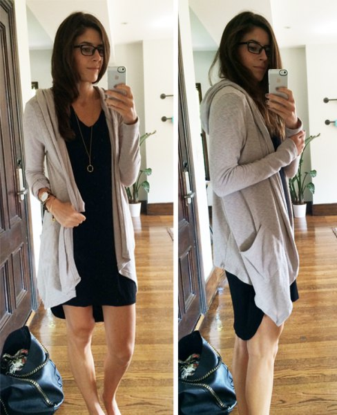 gray long hooded cardigan with black shift mini dress