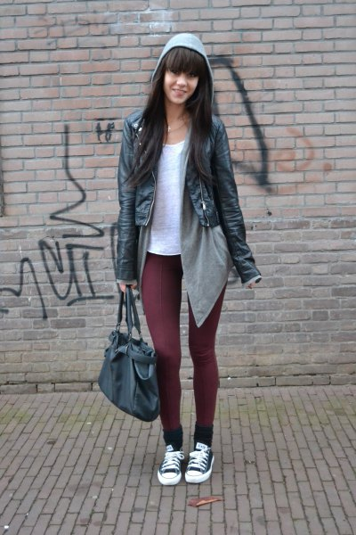 white tee with gray cardigan black leather jacket