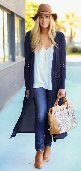 floppy hat with white v-neck vest top black crochet long cardigan