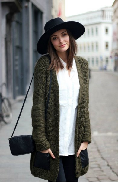 black felt hat with gray cardigan white button up shirt