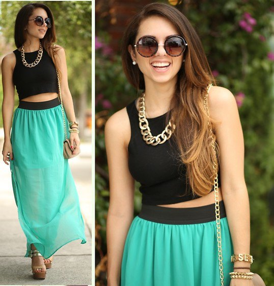 black crop top with gray maxi chiffon skirt and necklace