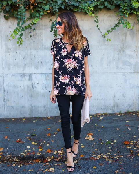 floral keyhole shirt floral shirt
