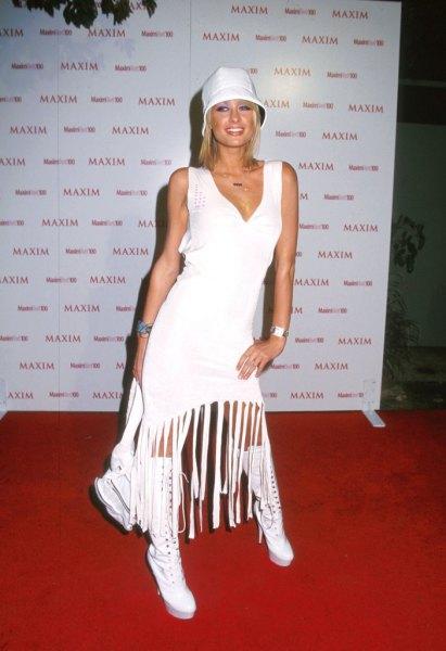 white hat with midi fringe dress