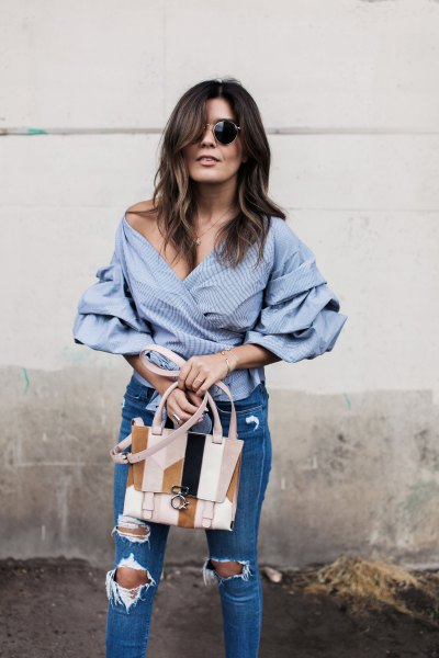 of shoulder blue and white striped wrap shirt