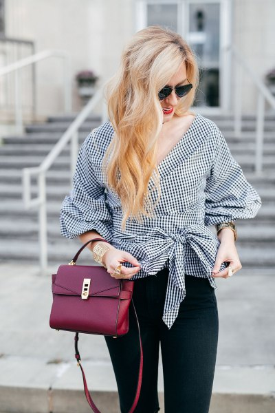 black and white checkered tie waist wrap blouse