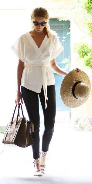 white tie waistcoat kimono with black skinny jeans