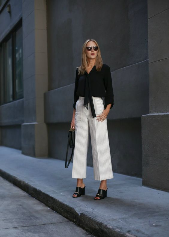 tie neck flare wide leg pants