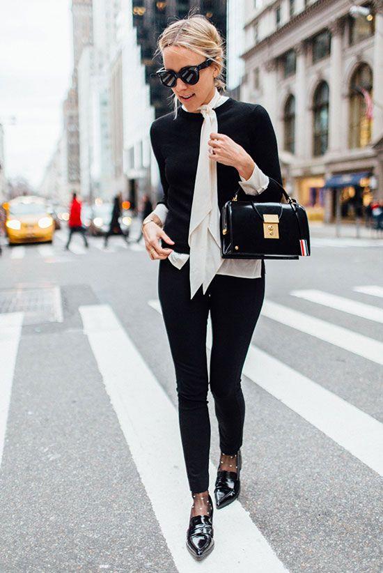 tie neckline glamorous black and white