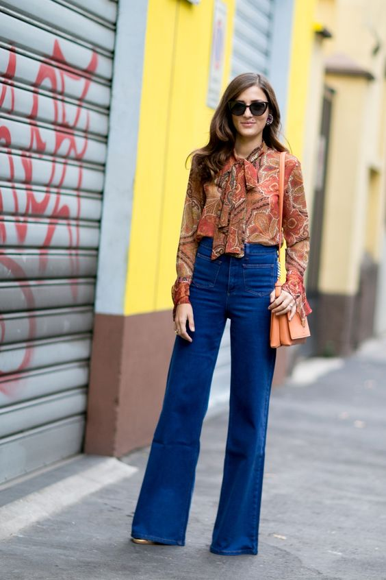 tie neck blouse puffed jeans
