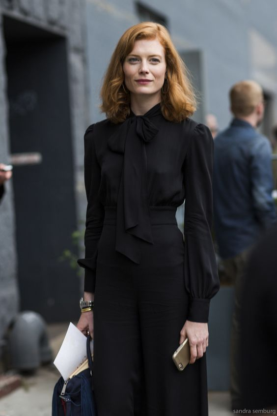 tie neck blouse all black everything