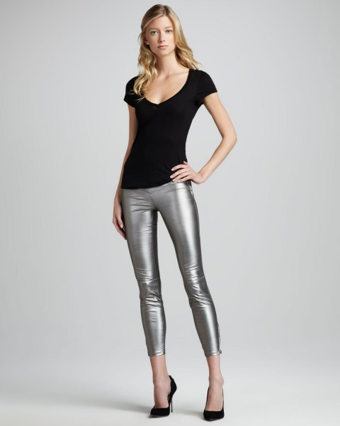 black tee with bucket neck with silver crop leggings