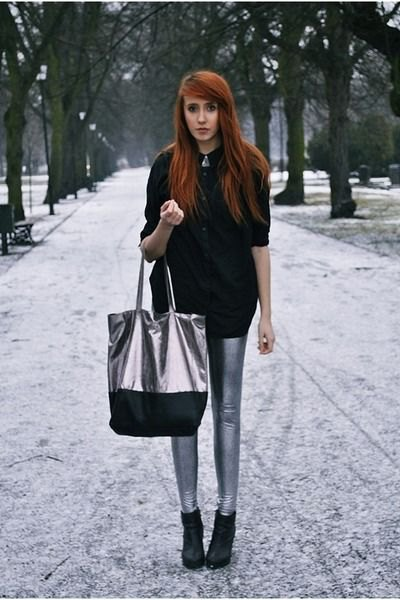 black chunky knitted sweater with silver leggings