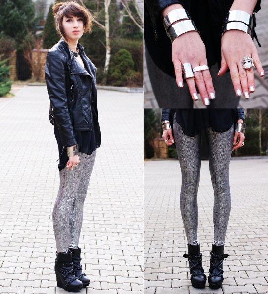 black leather jacket with white print tee and sequins with sequins