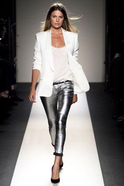 white blazer with silver metallic leggings