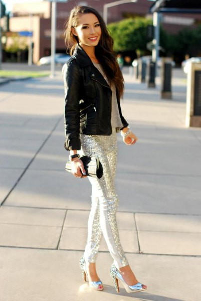 silver sequins with black moto jacket