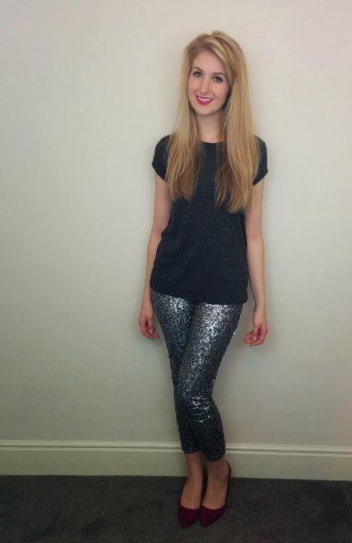 black sleeve tee with sequins with sequins