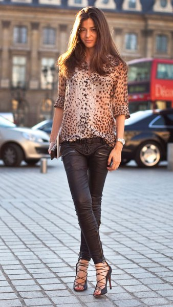 leopard print blouse with black leather pants