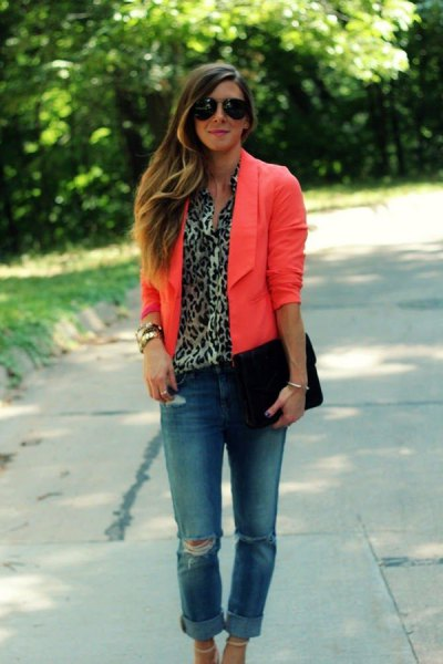yellow blazer with leopard print top cuffed boyfriend jeans