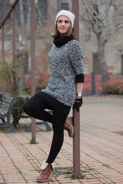 black and heather gray color block turtleneck mini knitted dress