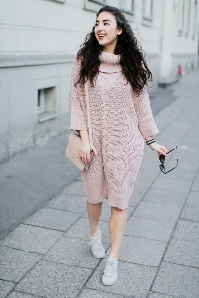 pink turtleneck chunky knee length knitted dress