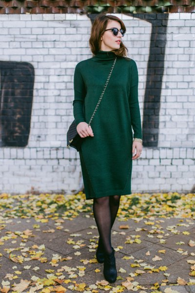 black suede knit knee length dress