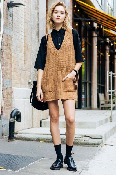 camel ribbed mini knit dress with black button up shirt