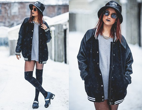 black oversized baseball jacket and gray sweatshirt dress