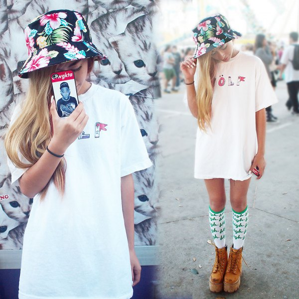 black floral bucket hat with white dress