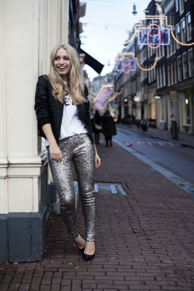 silver glitter pants with white print tee and black blazer