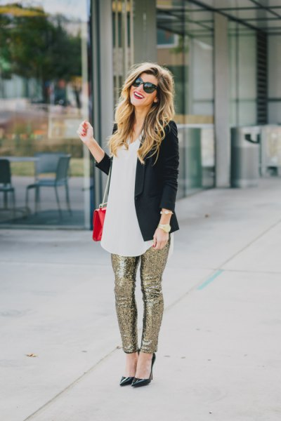 black blazer with white tunic lace silver glitter pants