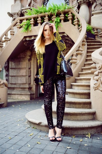 yellow and black printed blazer with glitter pants
