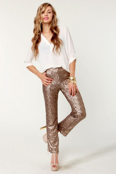 white v-neck blouse rose gold with straight legs glitter pants
