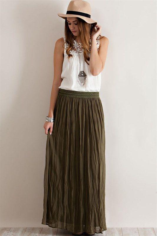 tassel skirt olive green