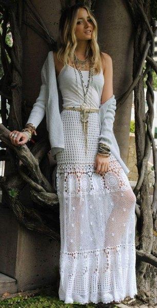 white net and crochet maxi bohemian skirt jacket