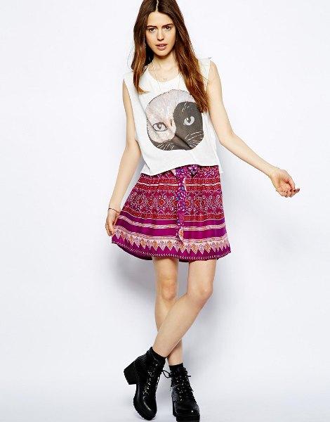 white sleeveless printed top with mini tribal printed bohemian skirt