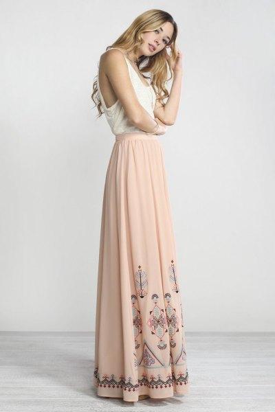 white vest top light pink floor length bohemian skirt