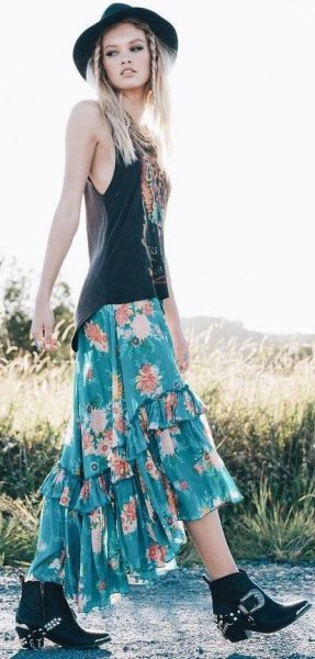 black west top green floral printed bohemian maxi skirt