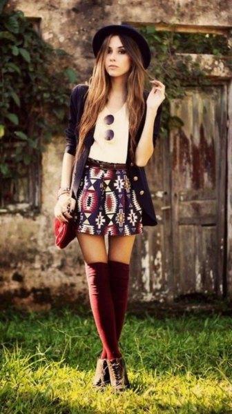 mini bohemian skirt black long cardigan