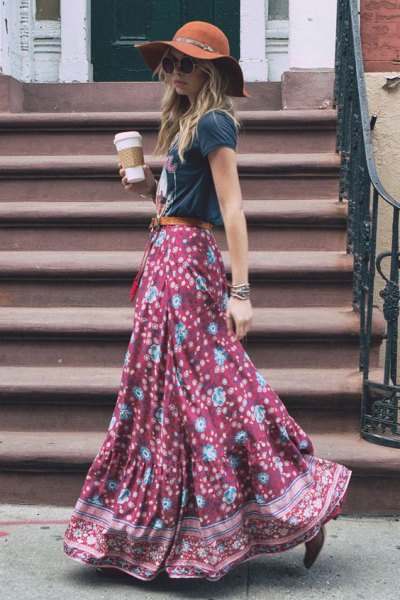 black and blue floral printed floral bohemian skirt